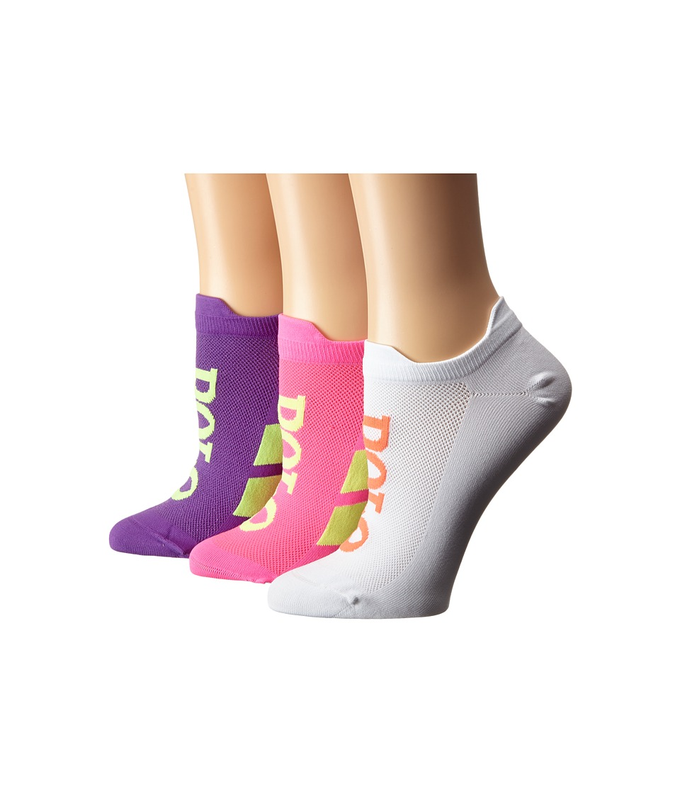 LAUREN Ralph Lauren - Double Tab Micro Racing Stripe Polo Low Cut 3-Pack (Neon Pink) Women's Crew Cut Socks Shoes