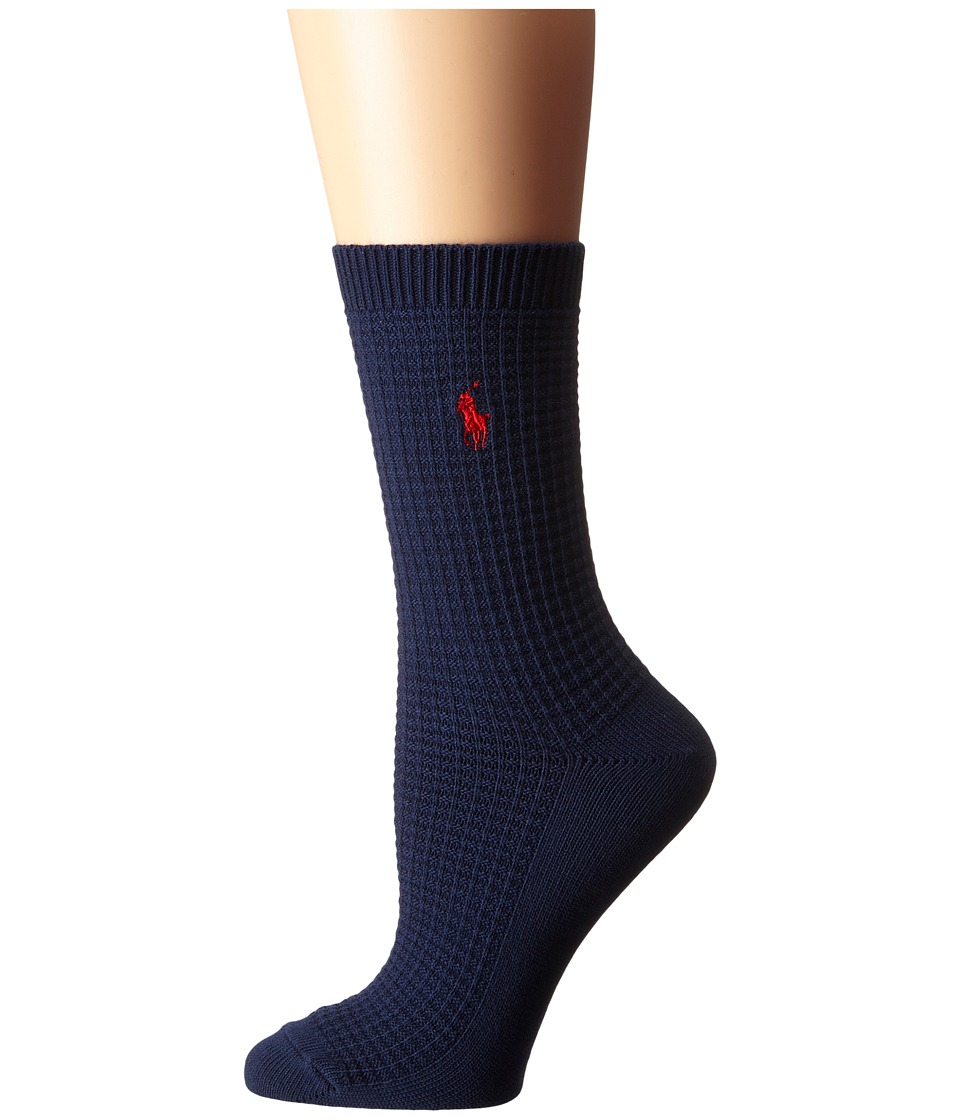 LAUREN Ralph Lauren - Waffle Texture Crew (Navy) Women's Crew Cut Socks Shoes