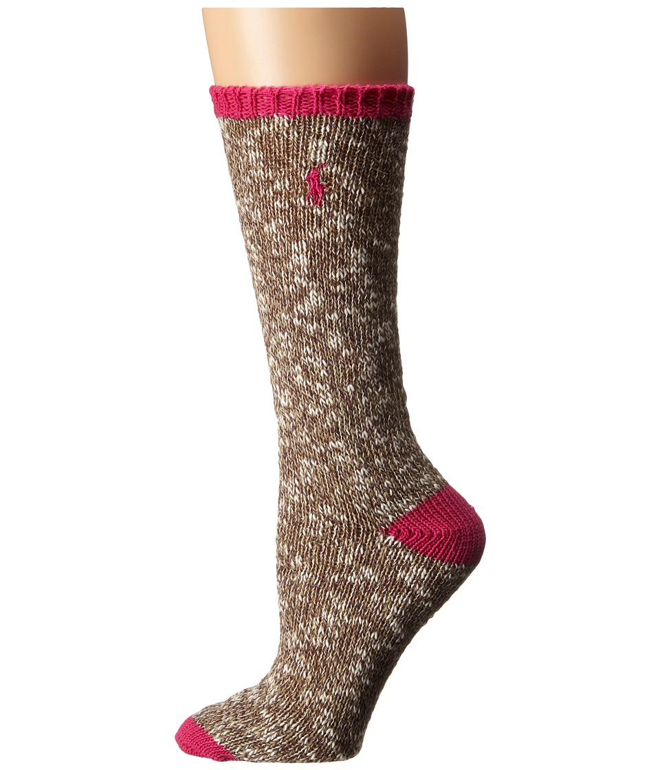 LAUREN Ralph Lauren - Rag w/ Contrast (Hot Pink) Women's Crew Cut Socks Shoes
