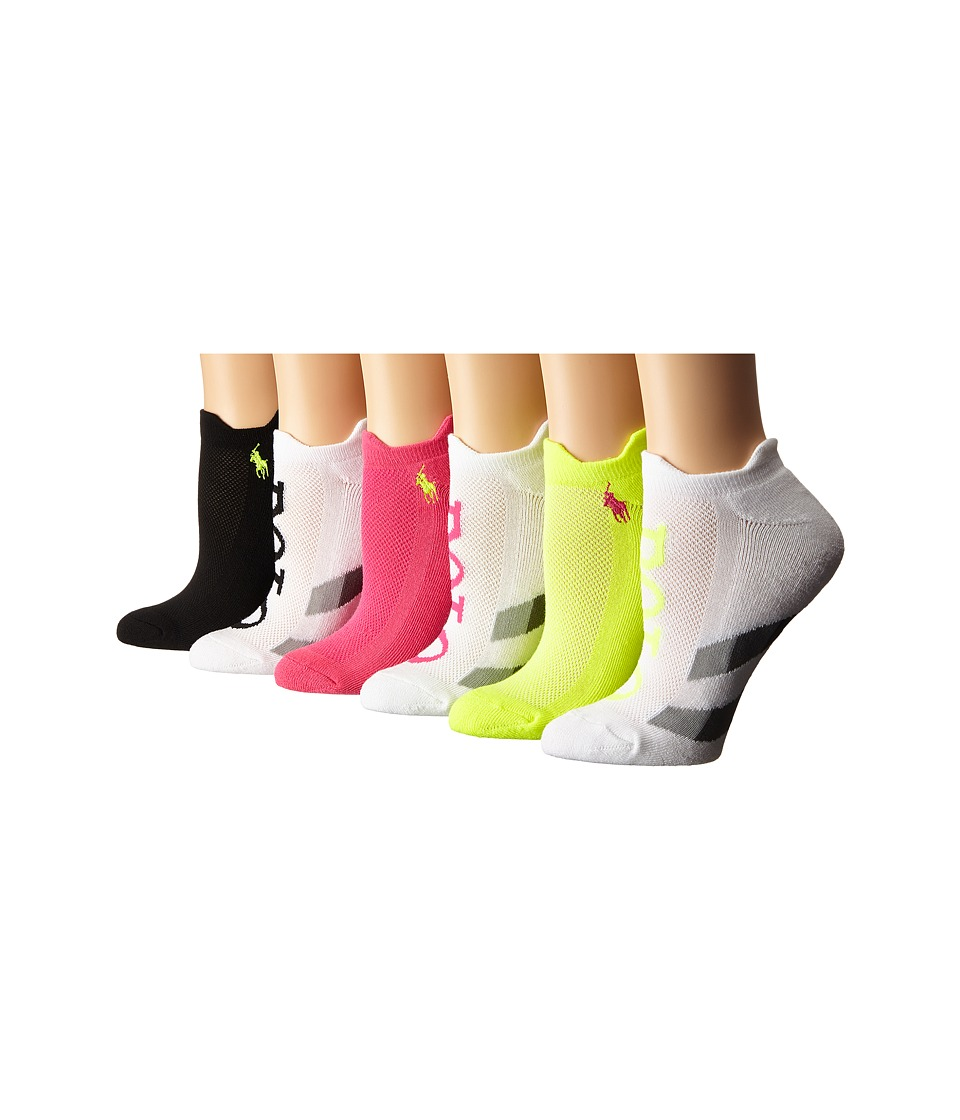 LAUREN Ralph Lauren - Gradient Stripe 6-Pack (White/Assorted) Women's Crew Cut Socks Shoes