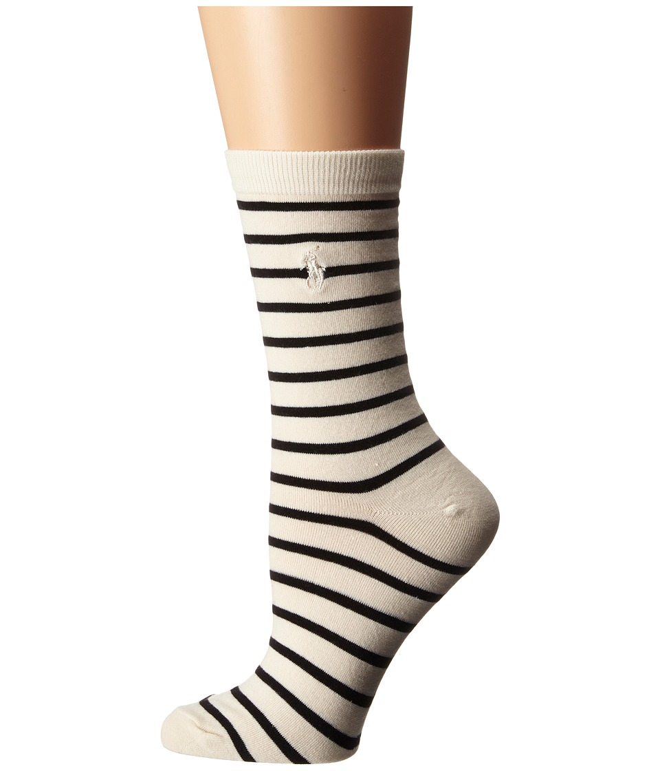 LAUREN Ralph Lauren - St. James Trouser Sock (Natural/Black) Women's Crew Cut Socks Shoes