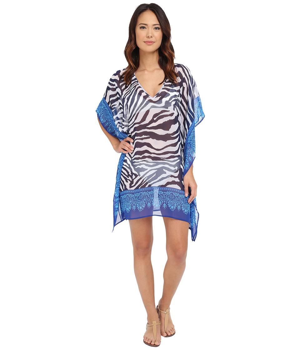 Tommy Bahama - Zebra Engineered Tunic Cover-Up (Mare Navy) Women's Swimwear
