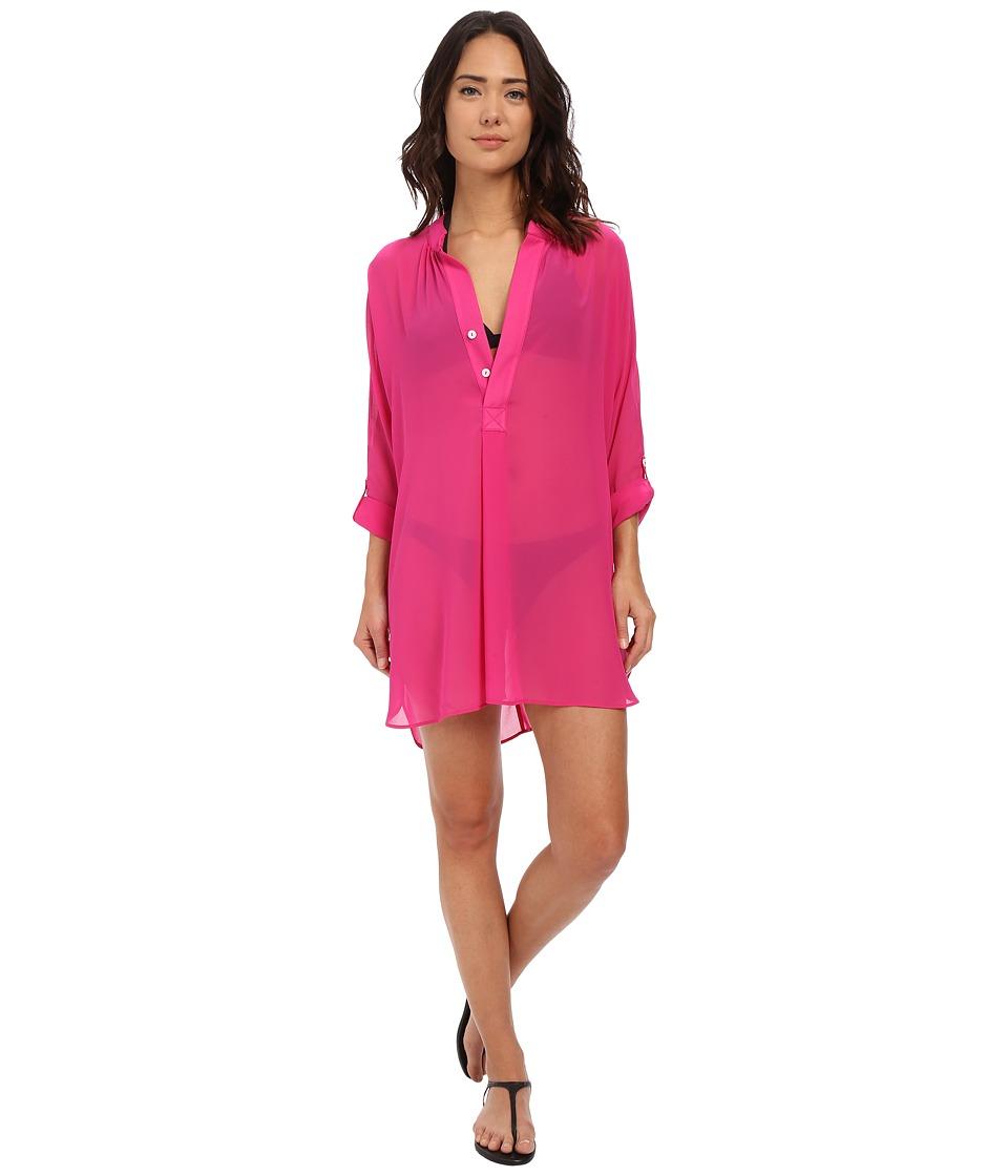 Tommy Bahama - Knit Chiffon Mandarin Collar Tunic Cover-Up (Razzberry) Women's Swimwear