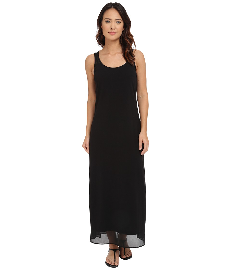 Tommy Bahama - Knit Chiffon Scoop Neck Long Dress Cover-Up (Black) Women's Swimwear