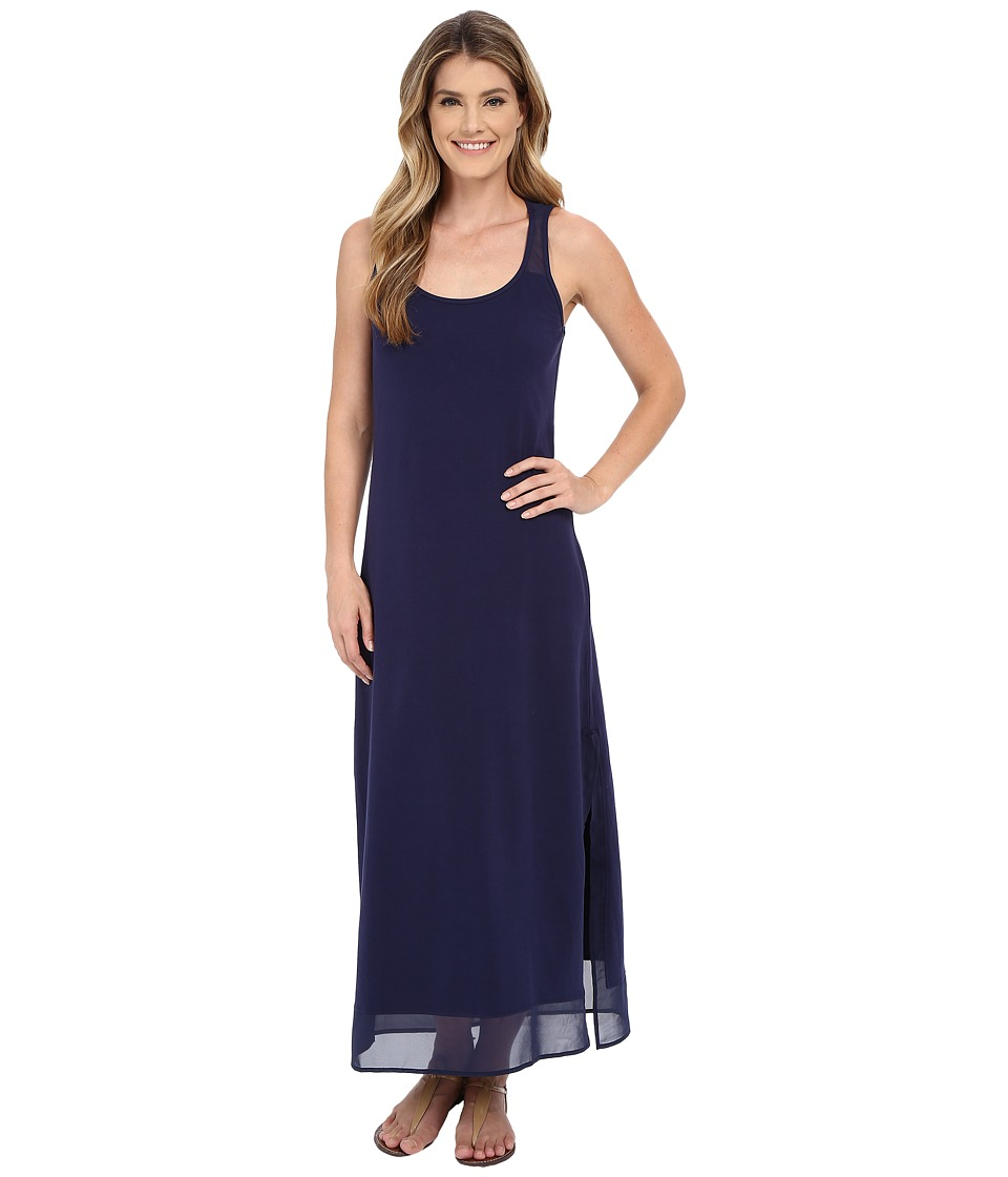 Tommy Bahama - Knit Chiffon Scoop Neck Long Dress Cover-Up (Mare Navy) Women's Swimwear