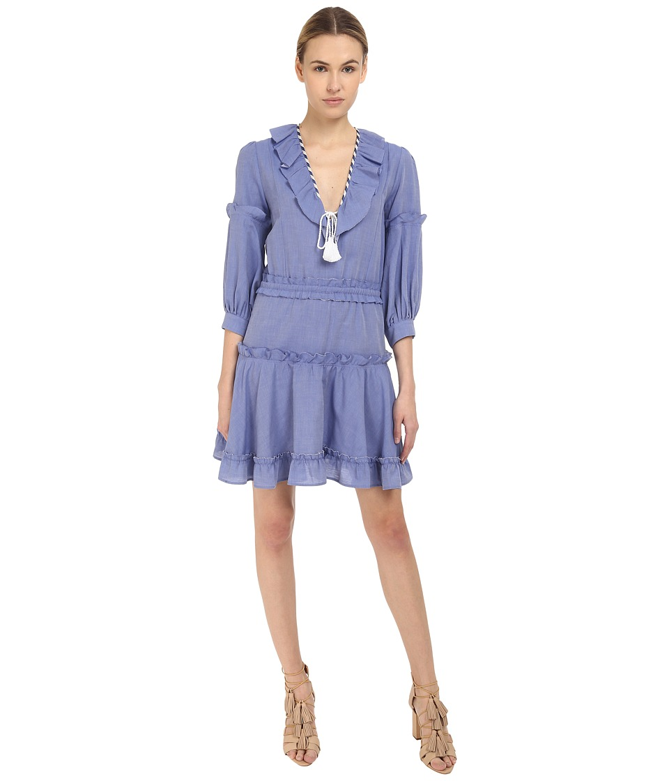 Just Cavalli - Woven Ruffle Front 3/4 Sleeve Dress (Blue Denim) Women's Dress