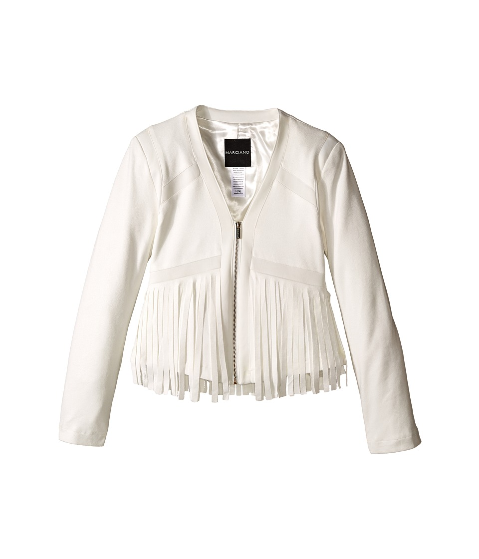 Marciano Kids - Suede Fringe Jacket (Big Kids) (Off-White) Girl's Jacket