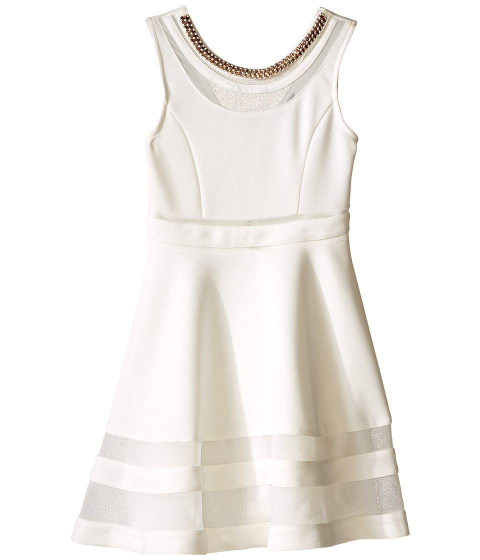 Marciano Kids - Scuba/Mesh Mix Fit and Flare (Big Kids) (Off-White) Girl's Dress