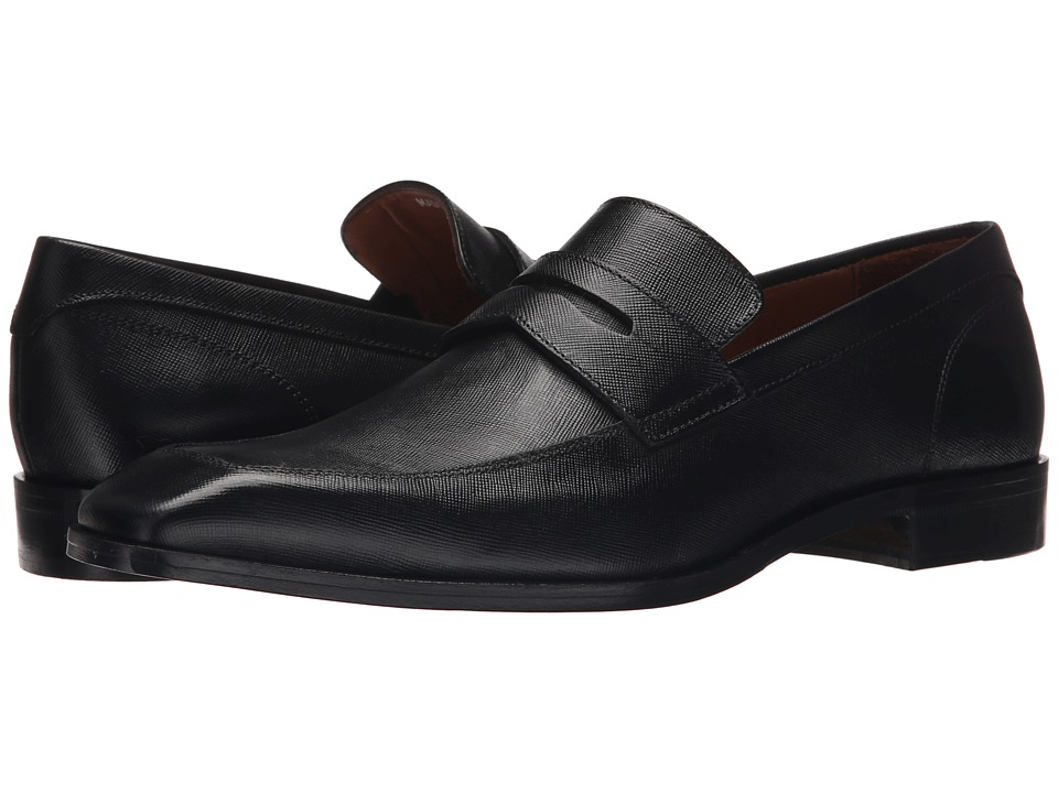 Massimo Matteo - Mocc Toe Penny (Black 1) Men's Slip on Shoes