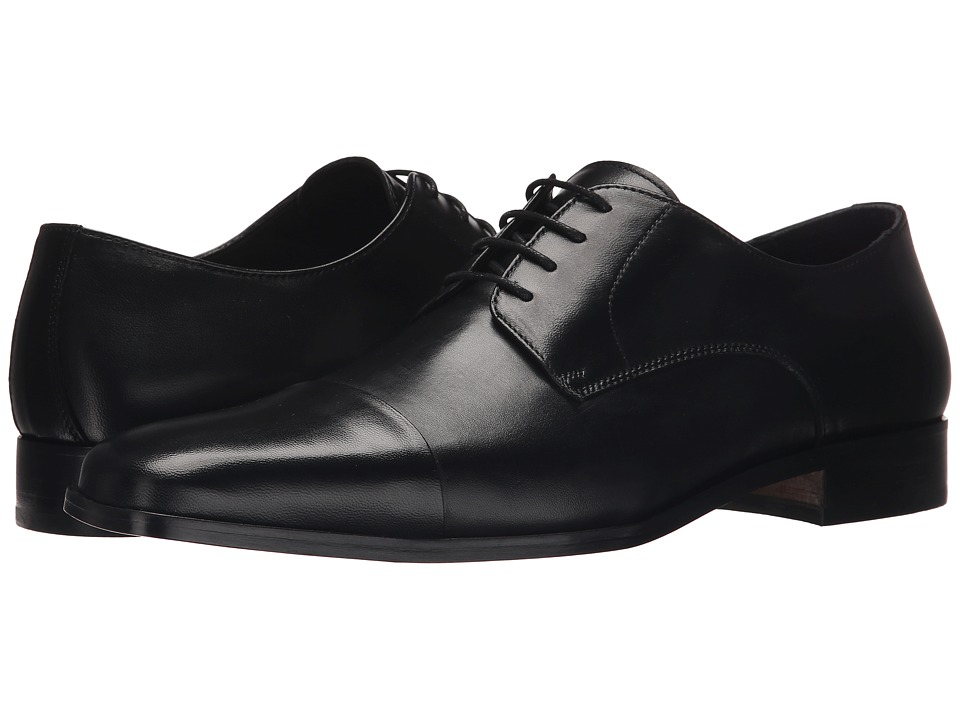 Massimo Matteo - Nappa Cap Toe Lace-Up (Black) Men's Lace Up Cap Toe Shoes