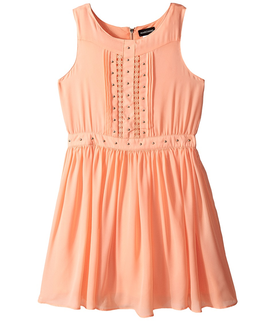 Marciano Kids - Embellished All Over Lace Dress (Big Kids) (Peach) Girl's Dress