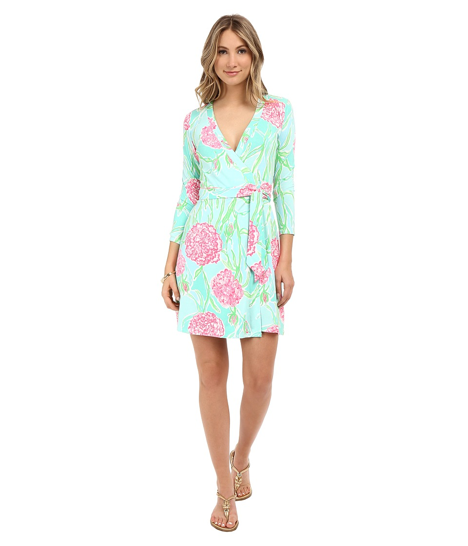 Lilly Pulitzer - Meridan Wrap Dress (Poolside Blue Going Stag) Women's Dress