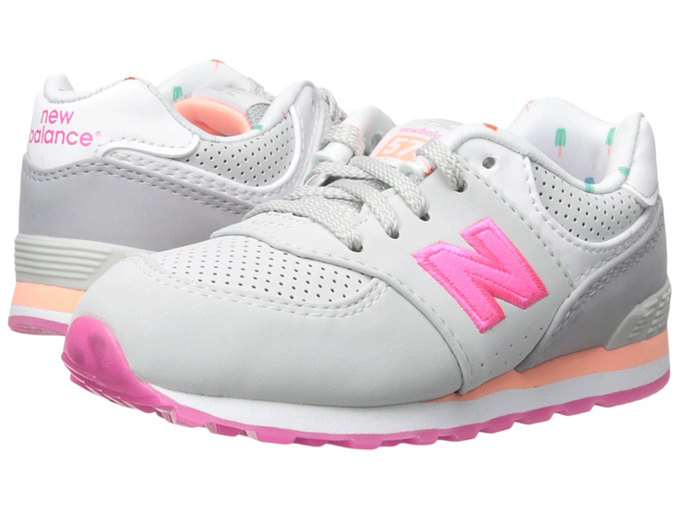New Balance Kids State Fair 574 (Infant/Toddler) (Grey/Pink) Girls Shoes