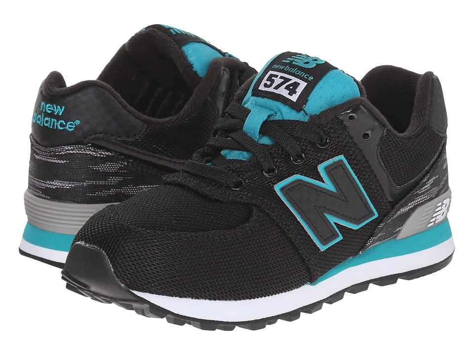 New Balance Kids - Summer Waves 574 (Little Kid) (Black/Green) Boys Shoes
