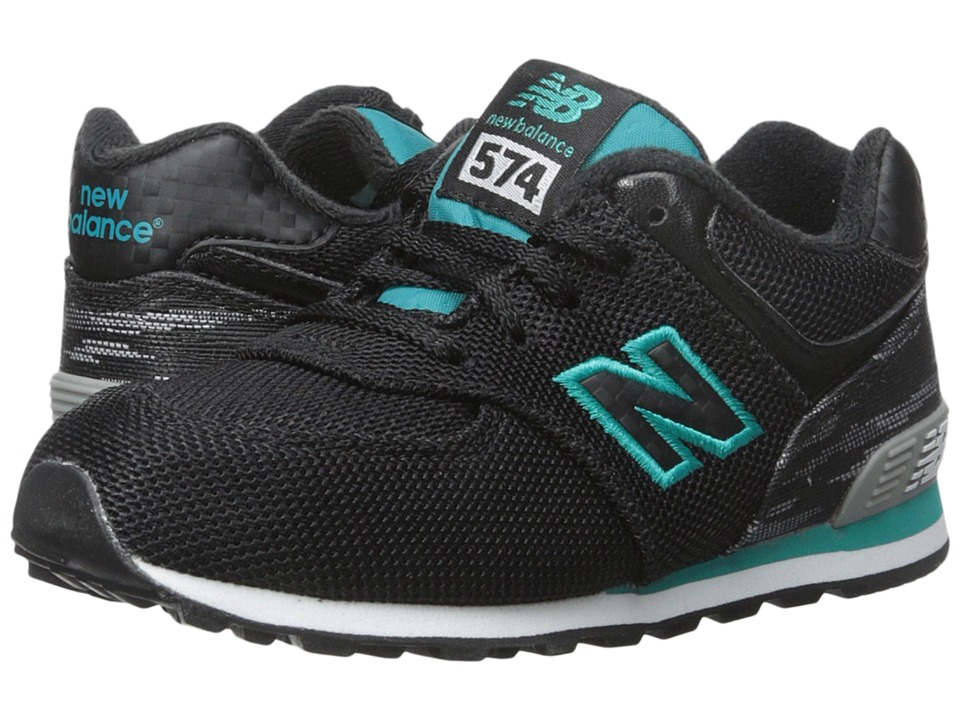New Balance Kids - Summer Waves 574 (Infant/Toddler) (Black/Green) Girls Shoes