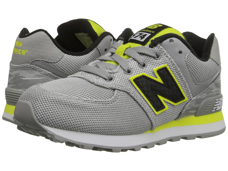 New Balance Kids - Summer Waves 574 (Little Kid) (Grey/Yellow) Boys Shoes