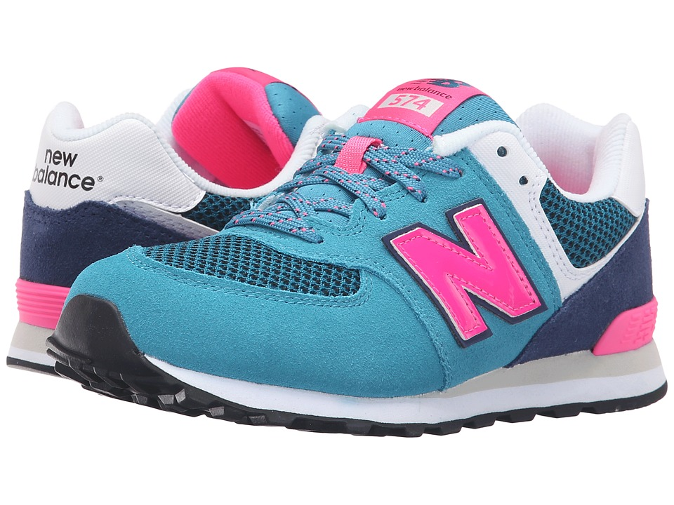 New Balance Kids - Summer Utility 574 (Big Kid) (Blue/Pink) Girls Shoes