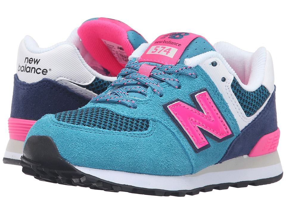 New Balance Kids - Summer Utility 574 (Little Kid) (Blue/Pink) Girls Shoes