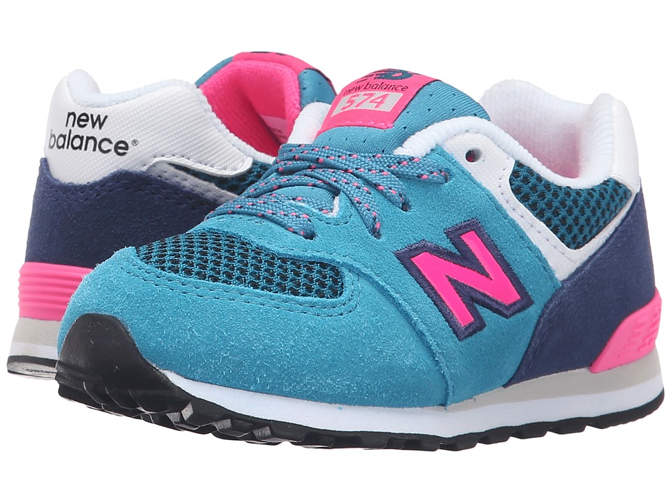 New Balance Kids Summer Utility 574 (Infant/Toddler) (Blue/Pink) Girls Shoes
