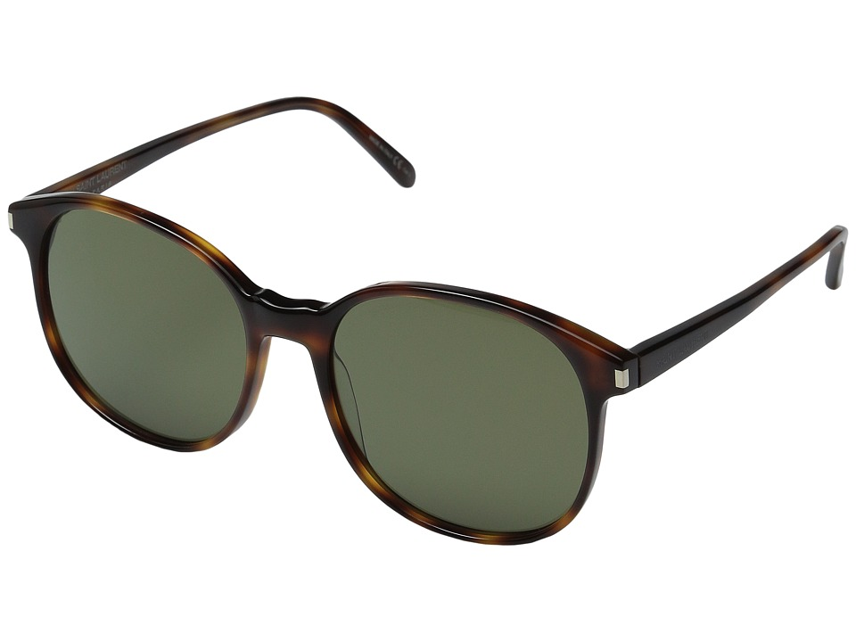 Saint Laurent - SL 95 (Light Havana/Solid Green Barberini Mineral Lens) Fashion Sunglasses
