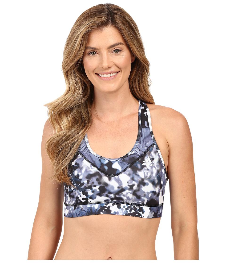 adidas - TECHFIT Bra - Floral Explosion Print (Black Print/Matte Silver) Women's Bra
