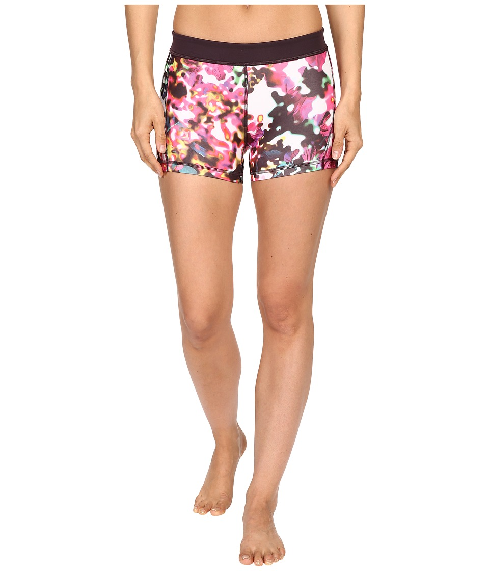 adidas - TECHFIT 3 Short Tight - Floral Explosion Print (Shock Pink Multicolor Print/Matte Silver) Women's Workout