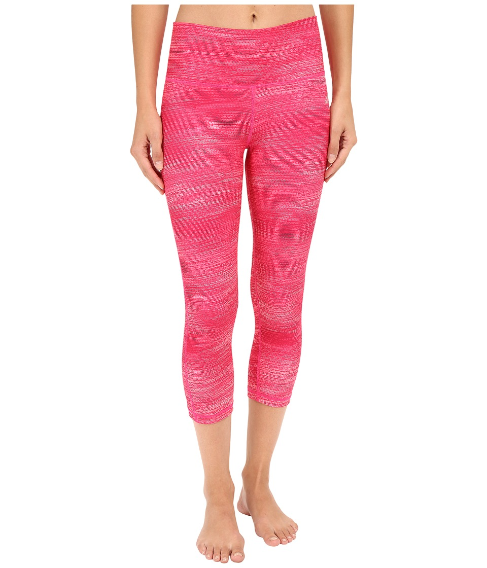 adidas - Performer Mid-Rise 3/4 Tight - Macro Heather Print (Shock Pink Print/Matte Silver) Women's Casual Pants