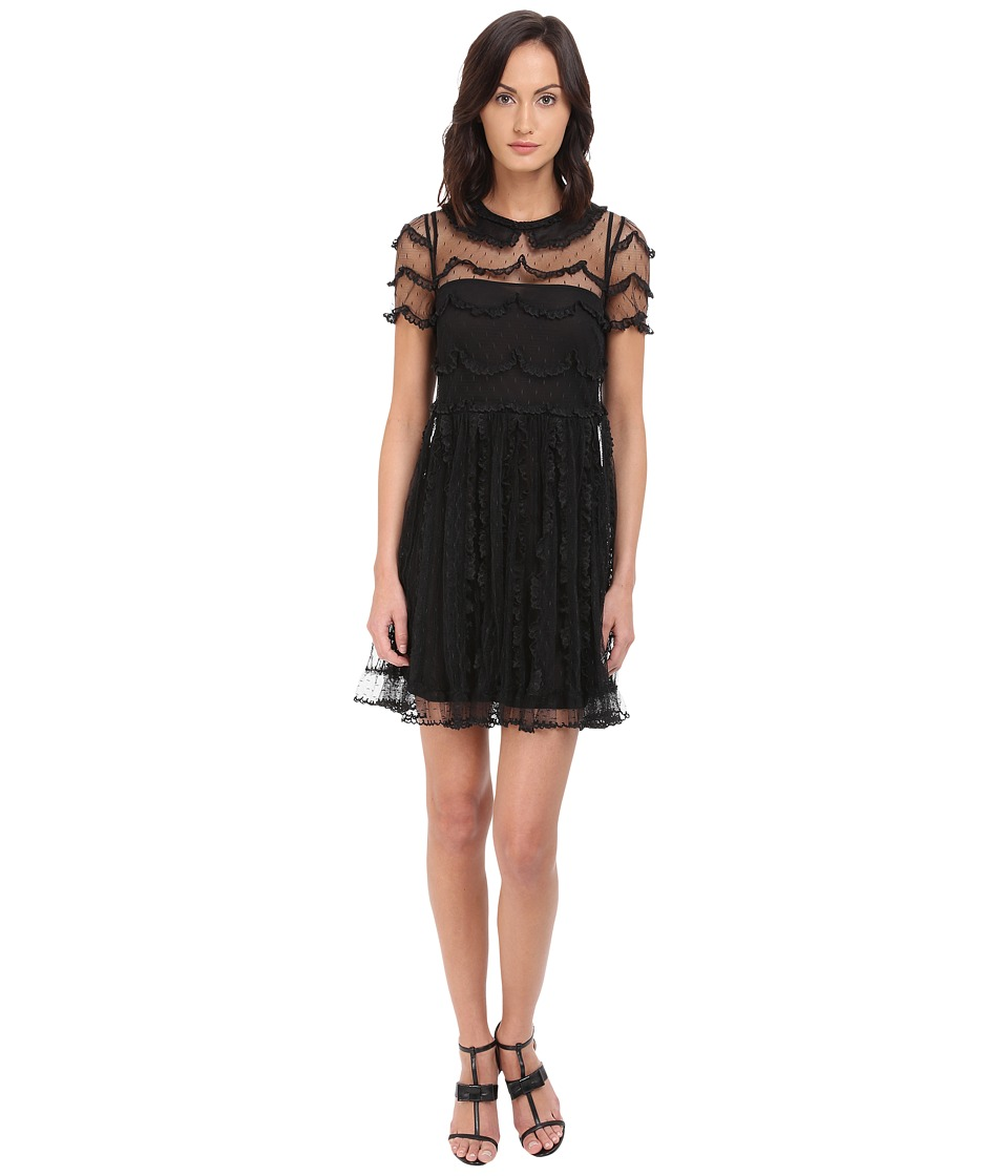 RED VALENTINO - C.Abito Ric.Cappette A Festone Su P.D'E Dress (Nero) Women's Dress