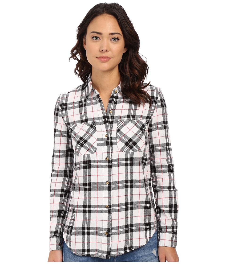 Vans - Masika Flannel (White) Women's Long Sleeve Button Up