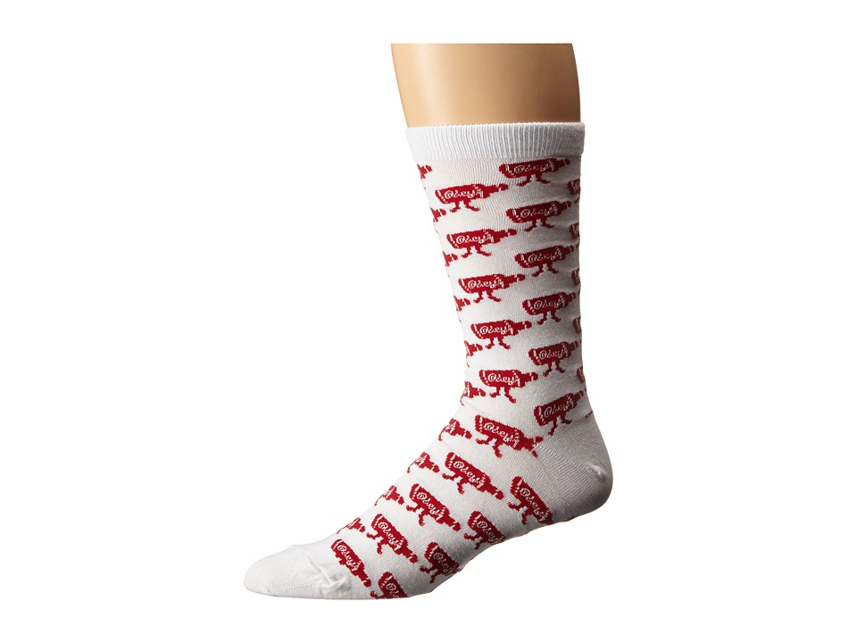 Obey - Walk Home Socks (White/Red) Men's Low Cut Socks Shoes