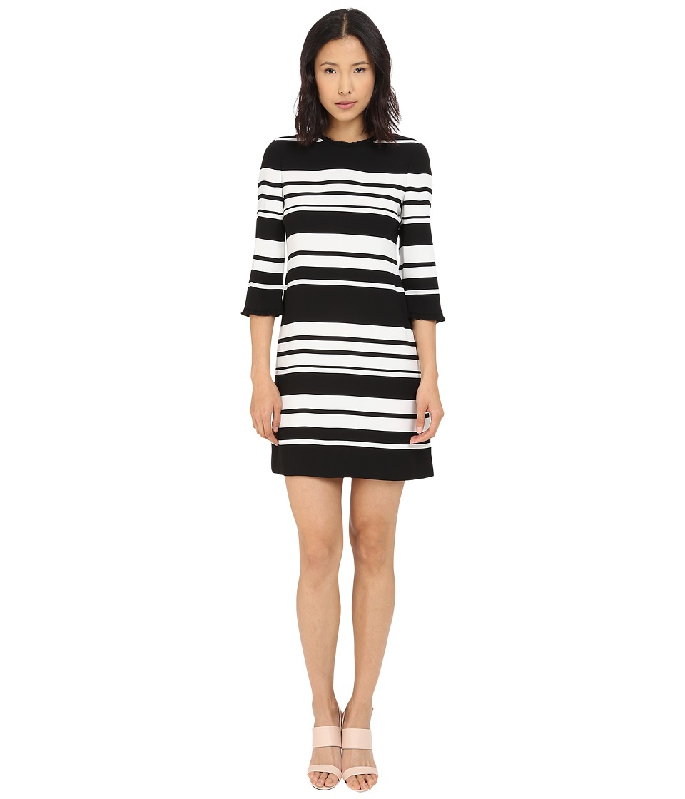 Kate Spade New York - Cape Stripe Dizzy Dress (Black/Cream) Women's Dress