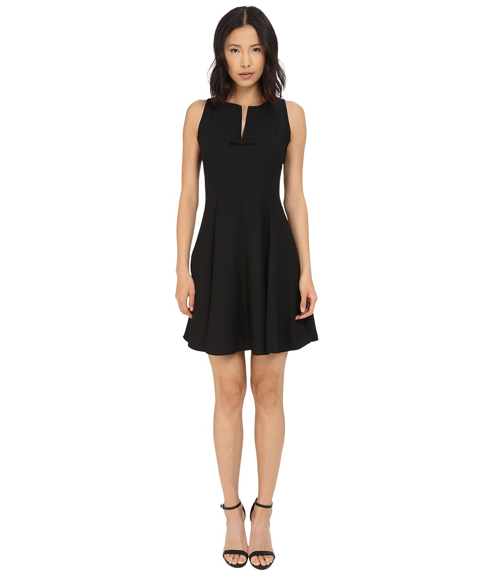 Kate Spade New York Satin Crepe Fit and Flare Dress (Black) Women