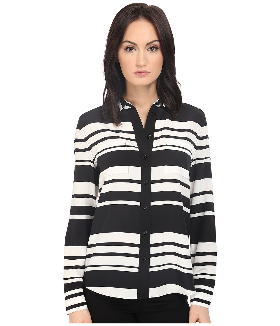 Kate Spade New York - Cape Stripe Silk Shirt (Black/Cream) Women's Clothing