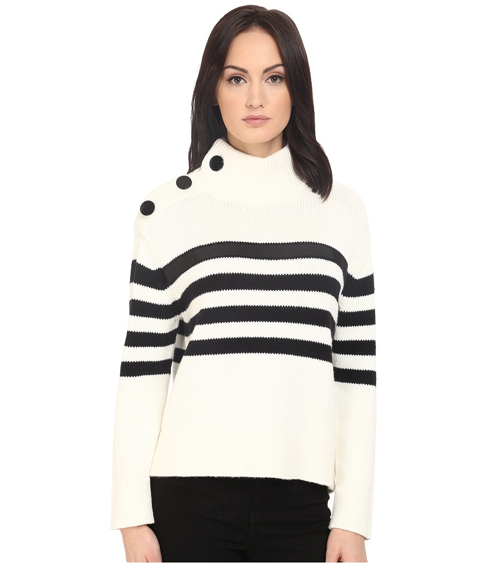 Kate Spade New York - Stripe Chunky Mock Neck Sweater (Cream/Black) Women's Sweater