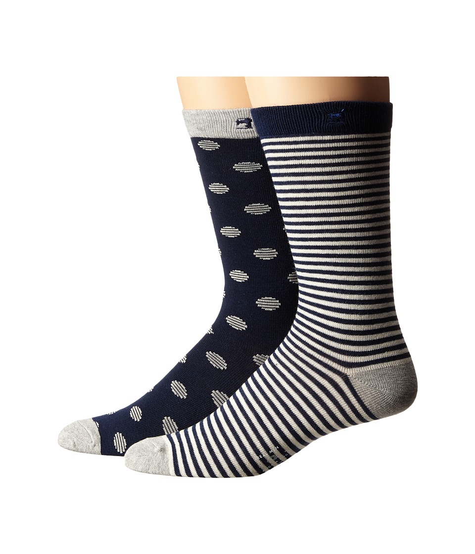 Scotch & Soda - 2-Pack Classic Socks (Grey/Navy) Men's Crew Cut Socks Shoes