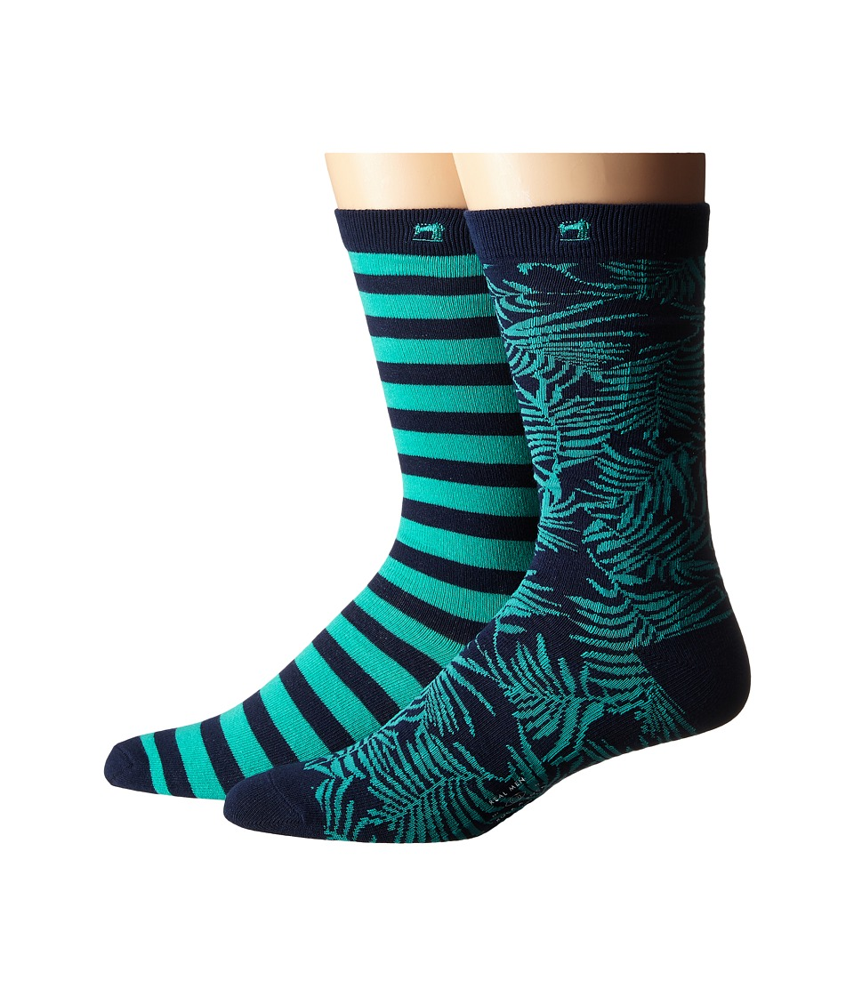 Scotch & Soda - 2-Pack Classic Socks in Fun Pattern (Teal/Navy) Men's Crew Cut Socks Shoes