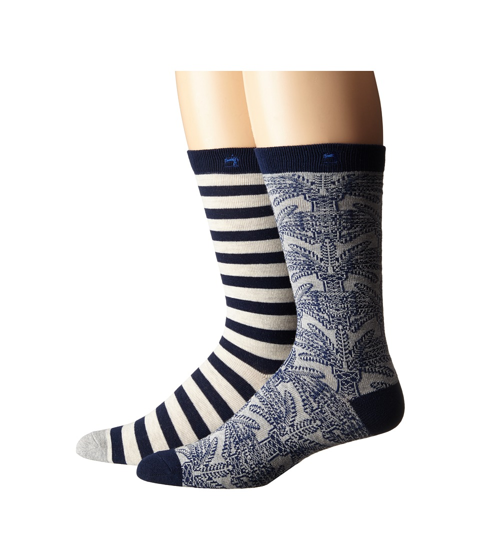 Scotch & Soda - 2-Pack Classic Socks in Fun Pattern (Grey/Navy) Men's Crew Cut Socks Shoes