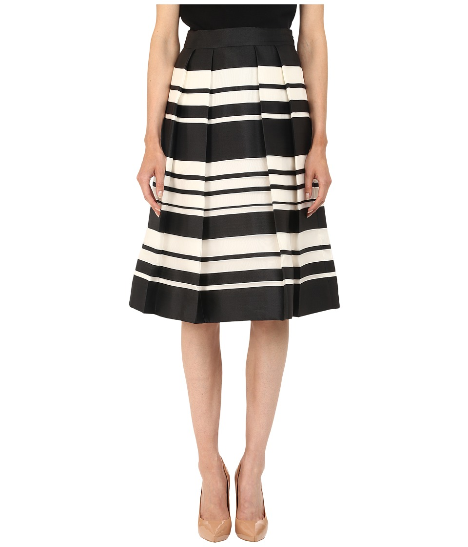 Kate Spade New York - Cape Stripe Organza Skirt (Black/Cream) Women's Skirt