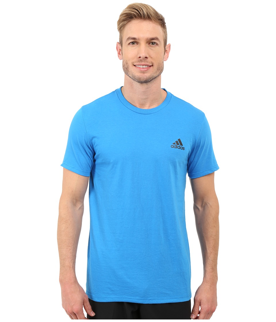 adidas - Go-To Performance Short Sleeve Crew Tee (Shock Blue/Black) Men's Workout