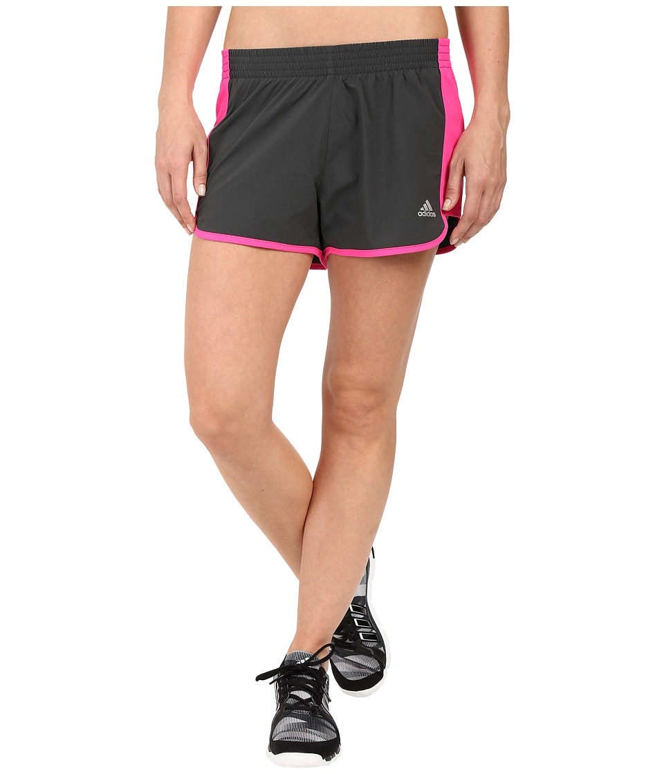 adidas - 100M Dash Woven Shorts (Dark Grey Heather/Solid Grey/Shock Pink/Matte Silver) Women's Shorts