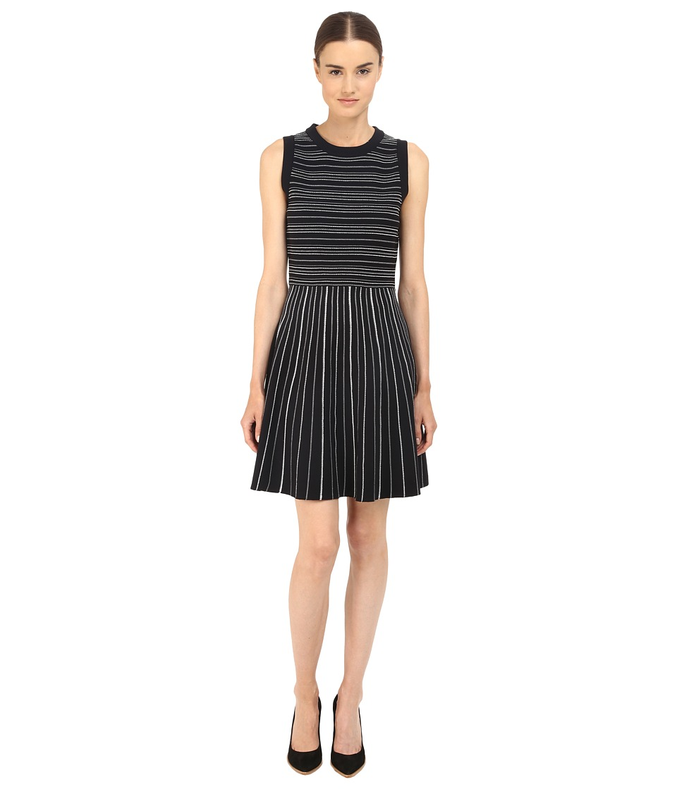 Kate Spade New York Knit Stripe Fit and Flare Dress (Black/Cream) Women
