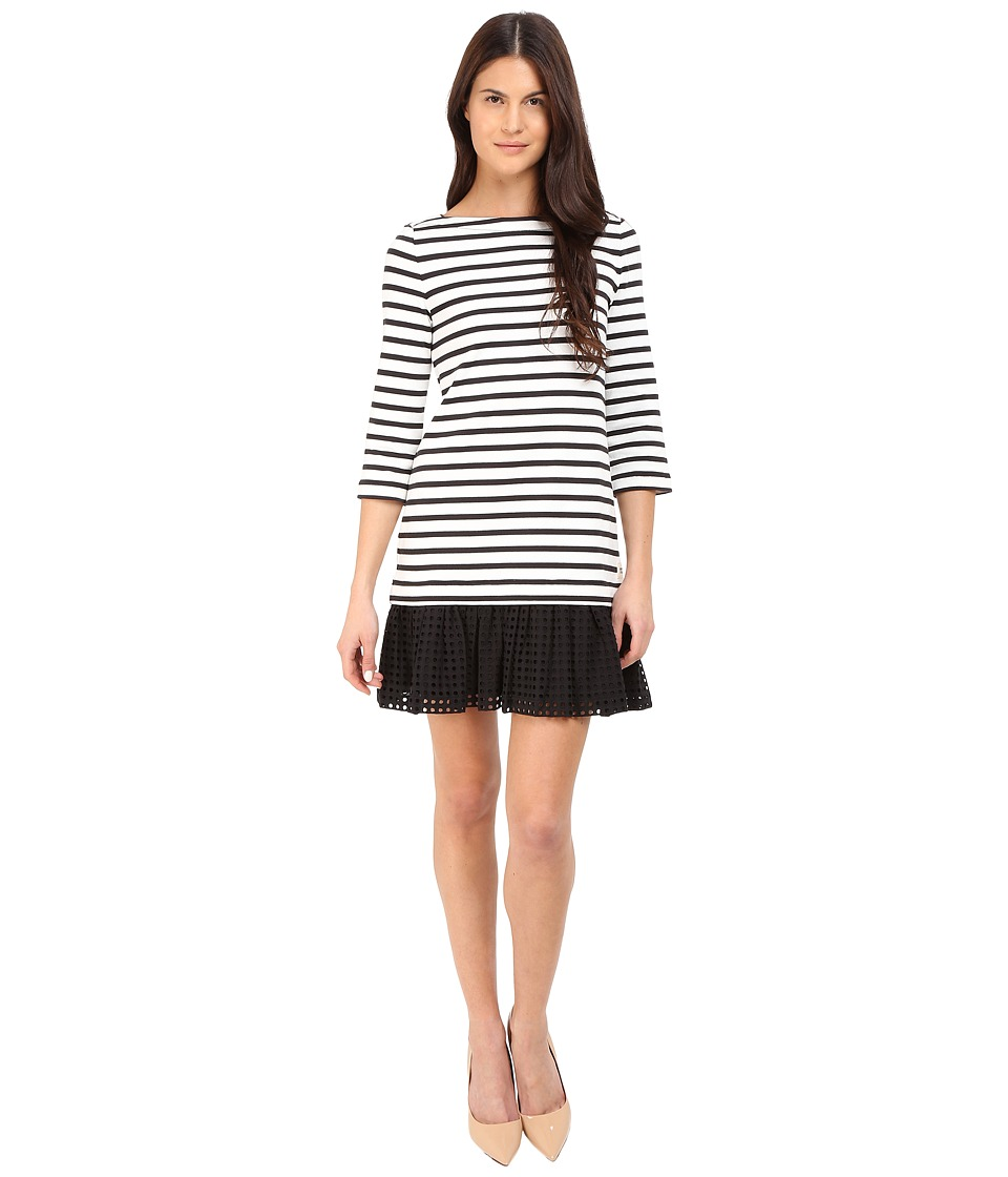 Kate Spade New York - Dot Eyelet Stripe Dress (Black) Women's Dress