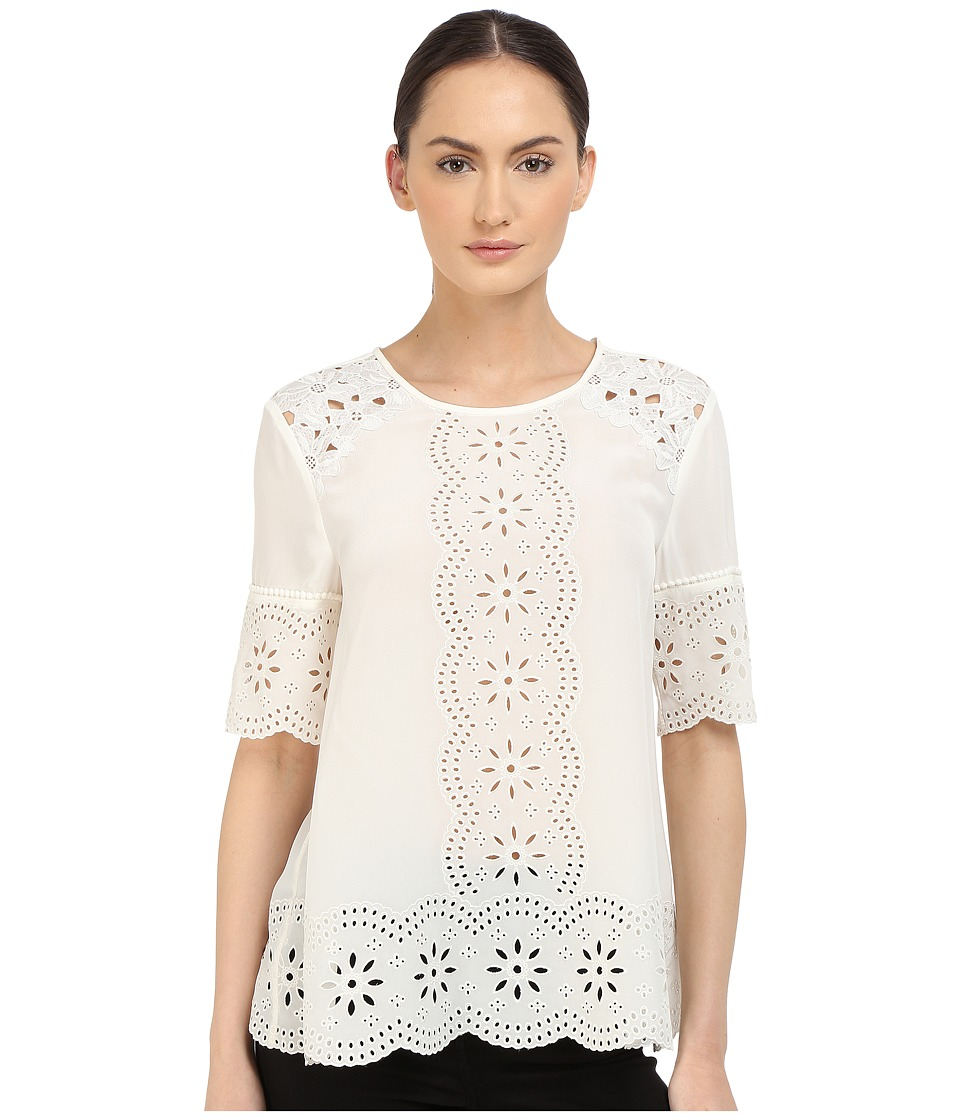 Kate Spade New York - Embroidered Daisy Swing Top (Cream) Women's Clothing