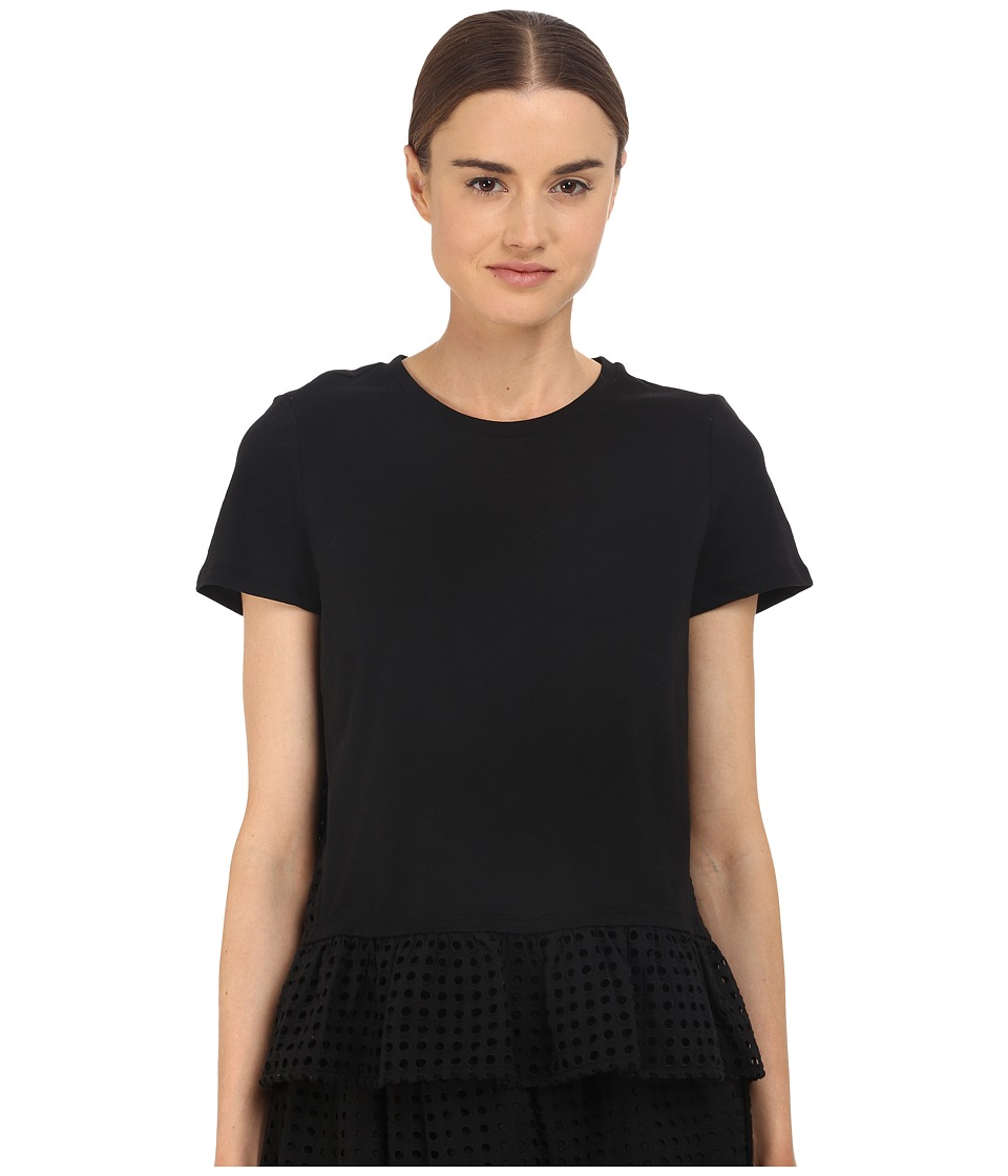 Kate Spade New York - Dot Eyelet Inset Tee (Black) Women's T Shirt