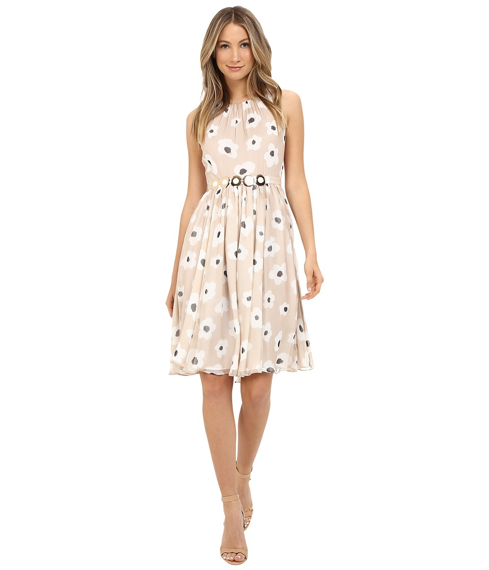 Kate Spade New York - Faye Floral Belted Chiffon Dress (Custom Light Beige) Women's Dress