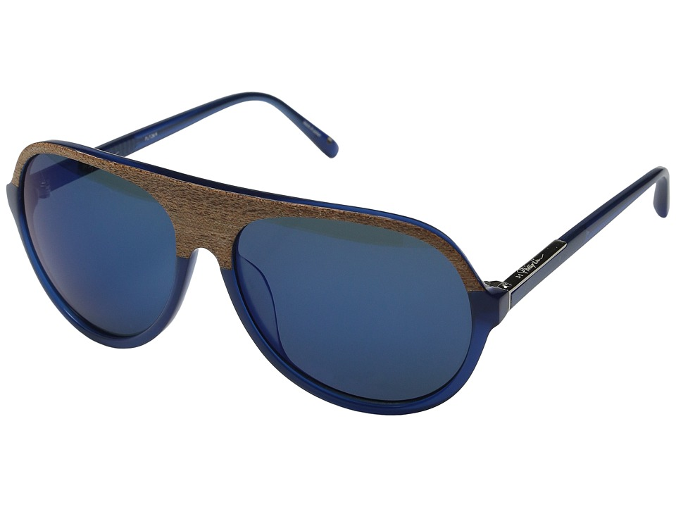 3.1 Phillip Lim - PL141C4SUN (Clear Blue Flowers/Blue Mirror) Fashion Sunglasses