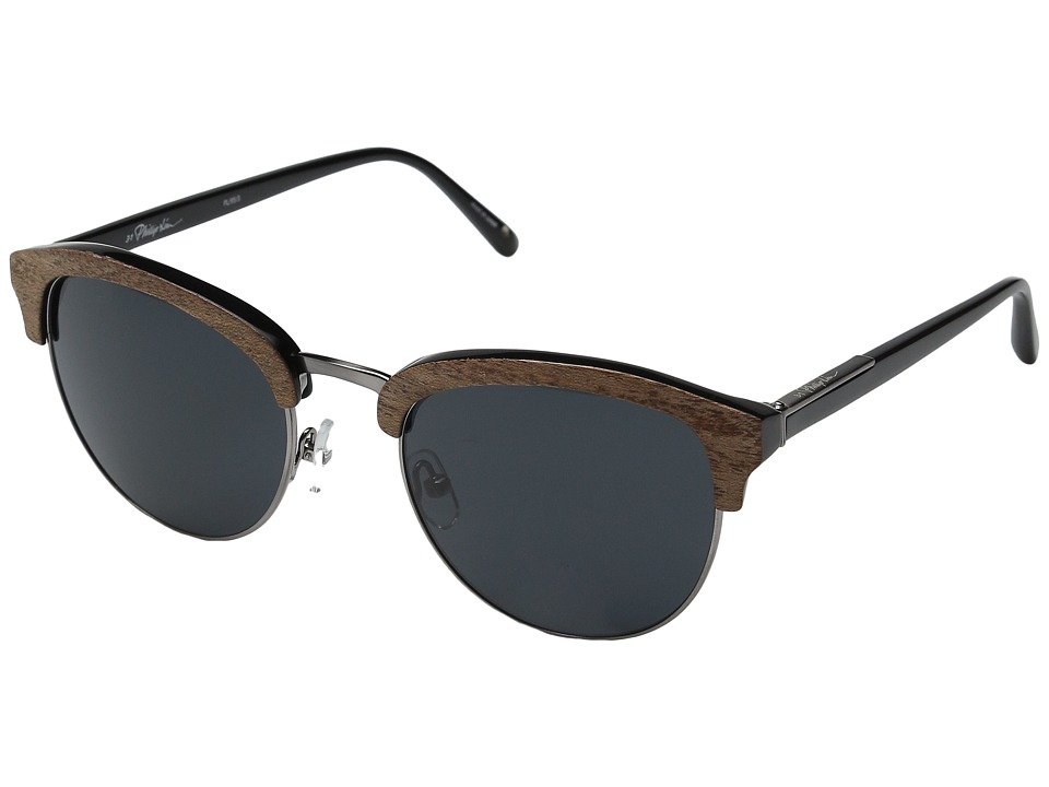 3.1 Phillip Lim - PL95C3SUN (Blonde Wood/Black/Aqua Mirror) Fashion Sunglasses