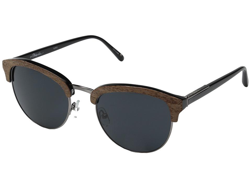 3.1 Phillip Lim - PL95C3SUN (Blonde Wood/Black/Aqua Mirror) Fashion Sunglasses