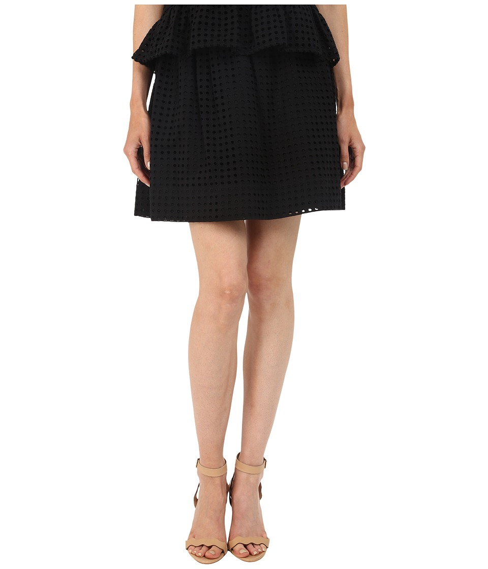 Kate Spade New York - Dot Eyelet Mini Blaire Skirt (Black) Women's Skirt
