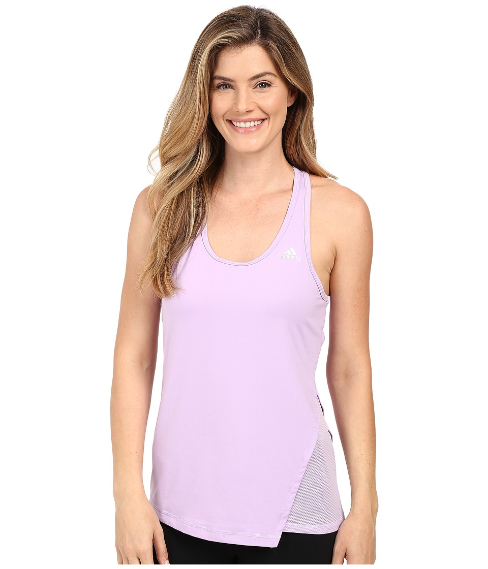 adidas - Clima Studio Split Tank Top (Purple Glow/Purple Glow/Matte Silver) Women's Sleeveless